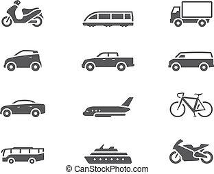 bw, ícones, -, transporte