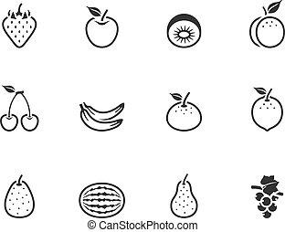 bw, アイコン, -, 新鮮な果物