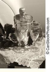 b&w, 結婚式, ガラス