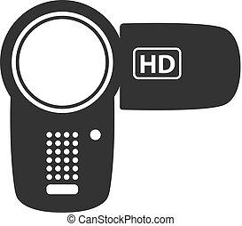 bw, -, camcorder, ikone