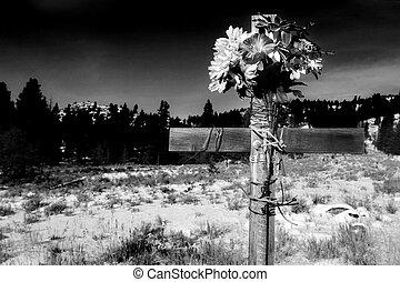 bw, crucifixos, à margem estrada