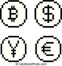bw, ensemble, pixel, icônes
