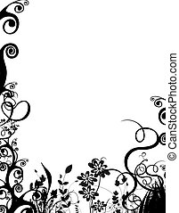a black and white spring/summer foliage border over white.