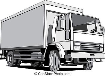 BW furgon - Vectorial monochrome image of furgon isolated on...