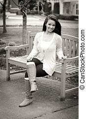 B&W Girl on a Bench