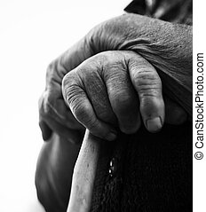 bw hand  - old woman hand close-up in black and white