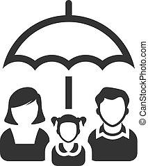 bw, icônes, -, famille, parapluie