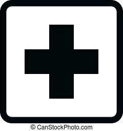 bw, icônes, -, monde médical
