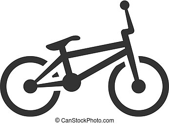 BW icon - BMX bicycle - BMX bicycle icon in single grey...
