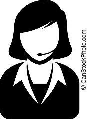 BW icon - Female receptionist