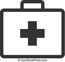 Medical case icon in single grey color. Health care equipment storage