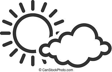 bw, icone, -, previsione, parzialmente, soleggiato