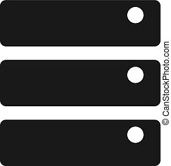 bw, icono, -, base de datos
