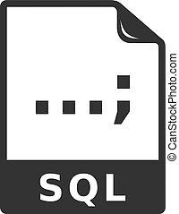 bw, icono, -, sql, archivo, formato