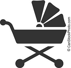 BW Icons - Baby stroller - Baby stroller icon in single...