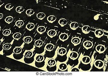b&w, illustratie, typemachine