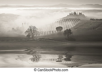 B&w landscape with Hills Reflection in Water