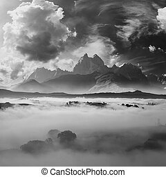 B&W landscape with mountains