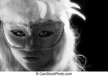 bw mask - Close up portrait of young woman wearing mask on...