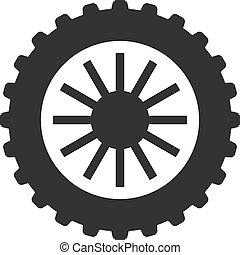 bw, -, motocyclette, pneu, icônes