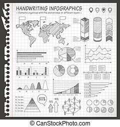B/W Notebook pen drawn infographics