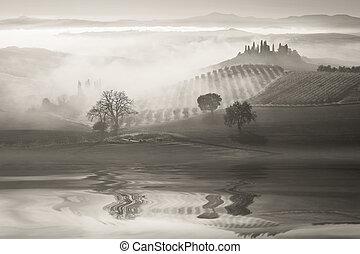 b&w, paisagem, com, colinas, reflexão, em, água