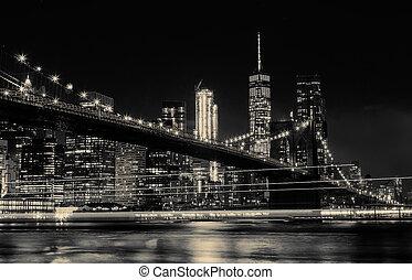BW photo Brooklyn Bridge and Manhattan Skyline Night, New...