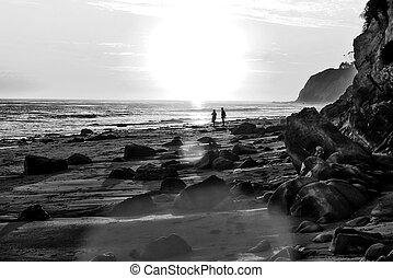 b&w, praia, pôr do sol