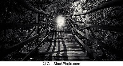 bw, resumen, puente, de madera