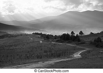 bw road - black and white landscape with old countryside ...