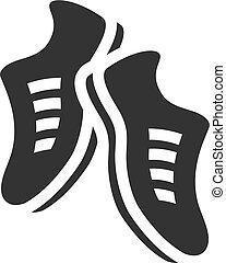 bw, -, sapatos, ícone
