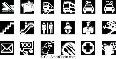 bw, serviço, ícones