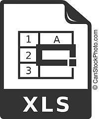 bw, -, spreadsheet, bestand, pictogram