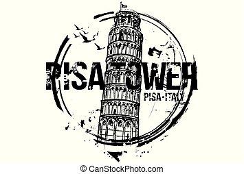BWPisatoweremblem - Pisa Tower. Toscana, Italy city design....