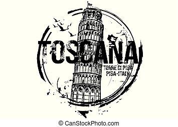 BWToscanaemblem - Pisa Tower. Toscana, Italy city design....