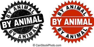 BY ANIMAL Black Rosette Stamp Seal with Grunge Surface