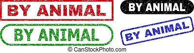 BY ANIMAL grunge seal stamps. Flat vector grunge seal stamps with BY ANIMAL slogan inside different rectangle and rounded forms, in blue, red, green, black color versions.