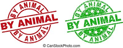 Round BY ANIMAL seal stamps. Flat vector grunge seal stamps with BY ANIMAL title inside circle and lines, in red and green colors. Stamp imprints with corroded surface.