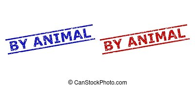 BY ANIMAL Stamps with Unclean Surface and Parallel Lines