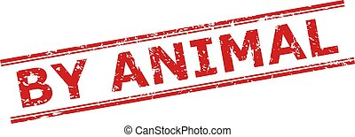BY ANIMAL Watermark with Scratched Style and Double Parallel Lines