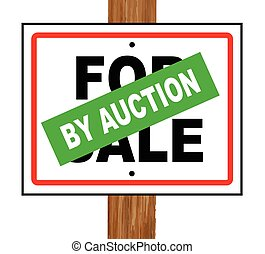 By Auction - A typical for sale sale sign with a by auction...
