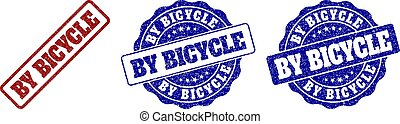 BY BICYCLE Grunge Stamp Seals