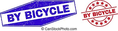 BY BICYCLE Grunge Stamp Seals in Circle and Hexagonal Forms