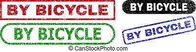 BY BICYCLE Rectangle Stamp Seals with Unclean Style