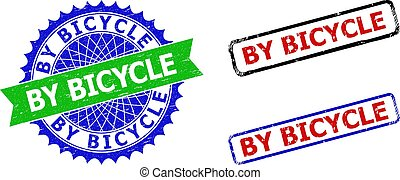 BY BICYCLE Rosette and Rectangle Bicolor Stamp Seals with Rubber Styles
