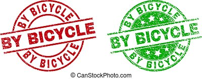 BY BICYCLE Round Stamp Seals with Rubber Style
