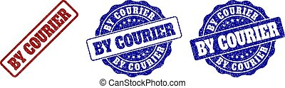 BY COURIER Grunge Stamp Seals