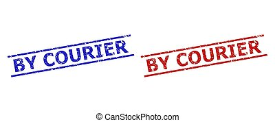 BY COURIER Watermarks with Unclean Texture and Parallel Lines