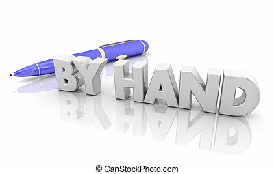 By Hand Pen Writing Manual Work 3d Illustration