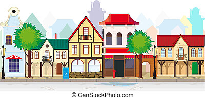 by, herskabelig, lille, gade, gamle